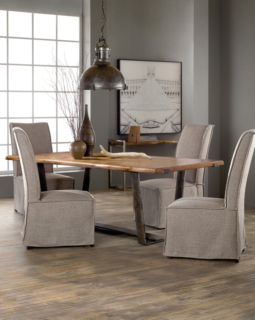 Hooker Furniture Live Edge Casual Dining Table in Acacia Solids with Metal Sheet 5590-75200