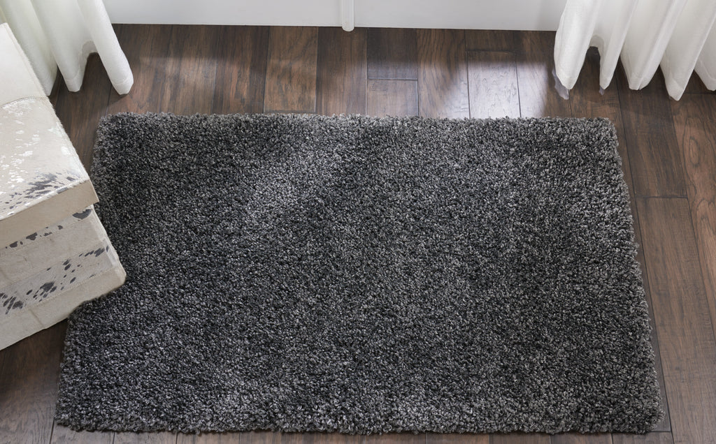 "Malibu Shag MSG01 Power Loomed 100% Polypropylene Dark Grey 2'6"" x 4' Rectangle Rug"
