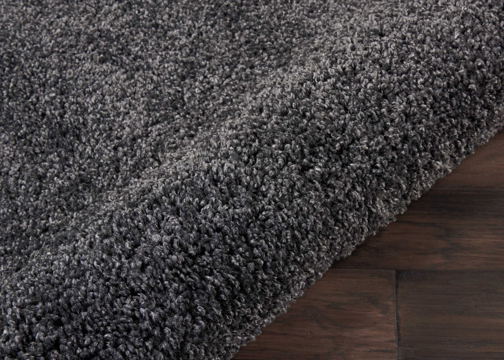 "Malibu Shag MSG01 Power Loomed 100% Polypropylene Dark Grey 2'2"" x 7'6"" Runner Rug"