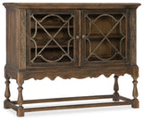 Hooker Furniture Hill Country Traditional-Formal La Coste Wine Cellaret in Hardwood and Poplar Solids with White Oak Veneers with Limestone, Metal and Seeded Glass 5960-50002-MWD