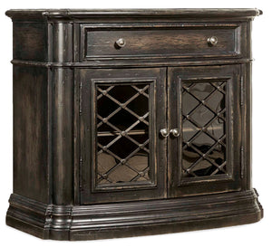 Hooker Furniture Auberose Traditional-Formal One-Drawer Two-Door Nightstand in Poplar and Hardwood Solids with Cathedral and Quartered Hickory Veneers, Cedar, Resin, Seeded Glass and Metal Frame 1595-90016A-LTBK