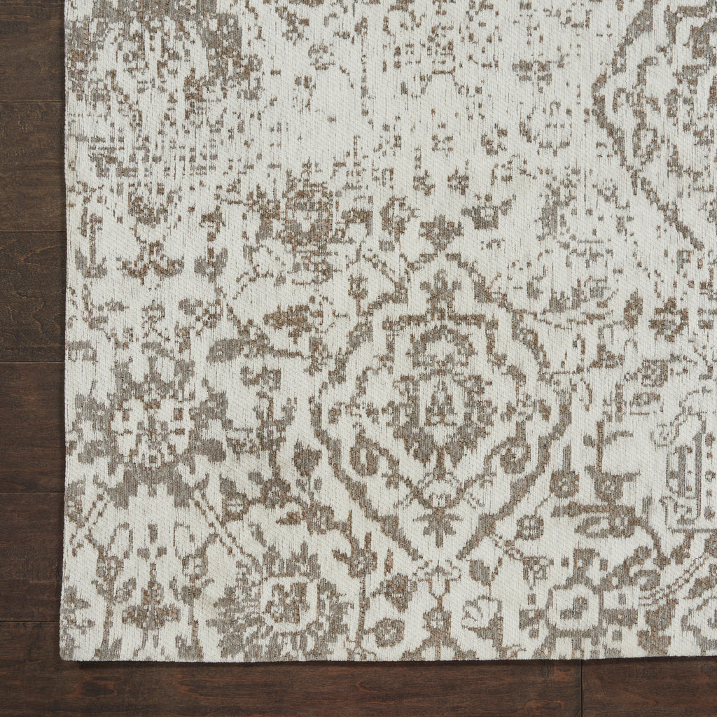 Damask DAS06 Power Loomed 83% Polyester, 14% Cotton, 3% Rayon Ivory 6' x 9' Rectangle Rug