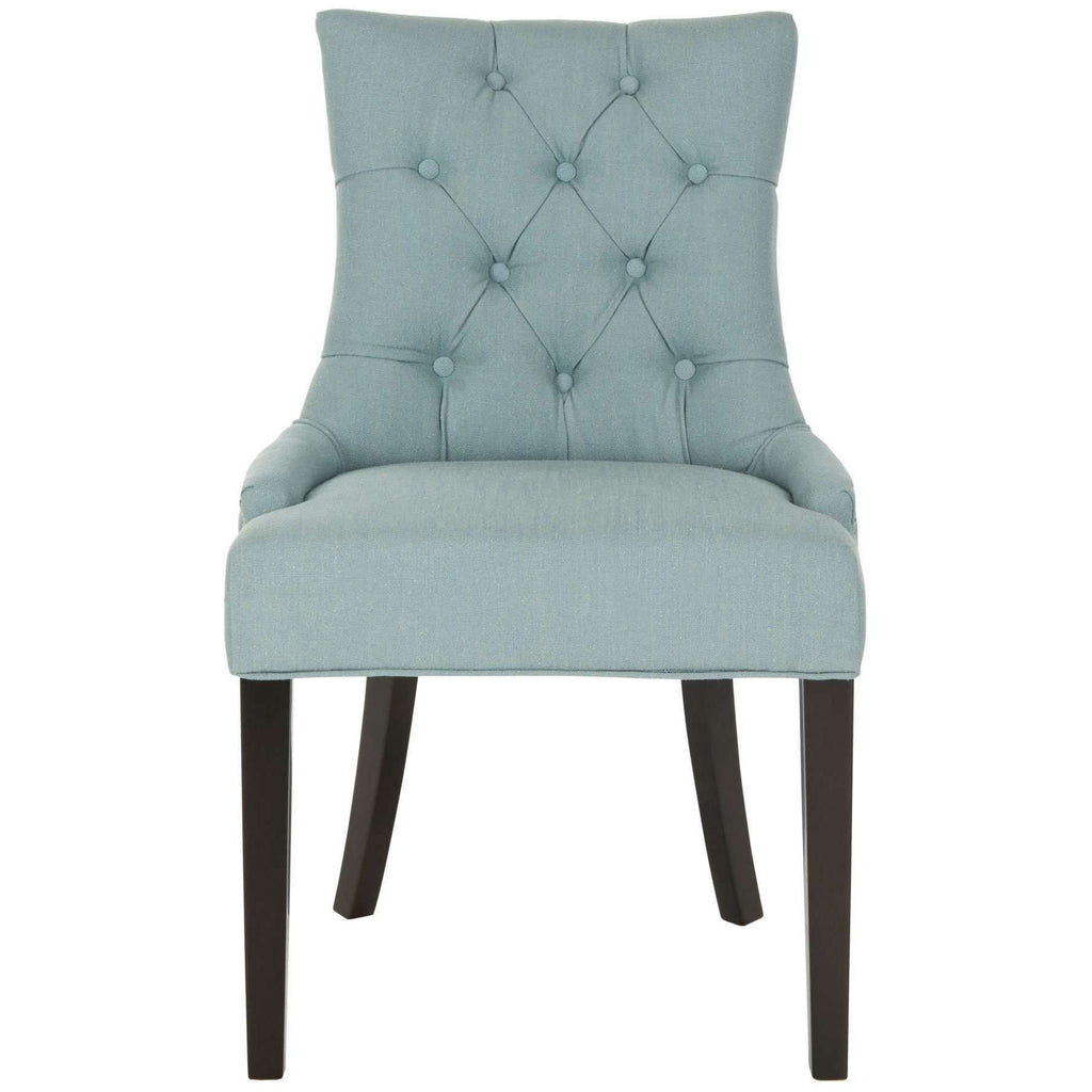 Abby Side Chairs 19''H Nail Heads Sky Blue Espresso Wood Birch CA Foam Poly Fiber Steel Cotton Linen - Set of 2
