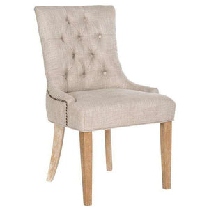 Abby Side Chairs 19''H Tufted Nail Heads Grey White Wash Wood Birch CA Foam Poly Fiber Steel Viscose - Set of 2