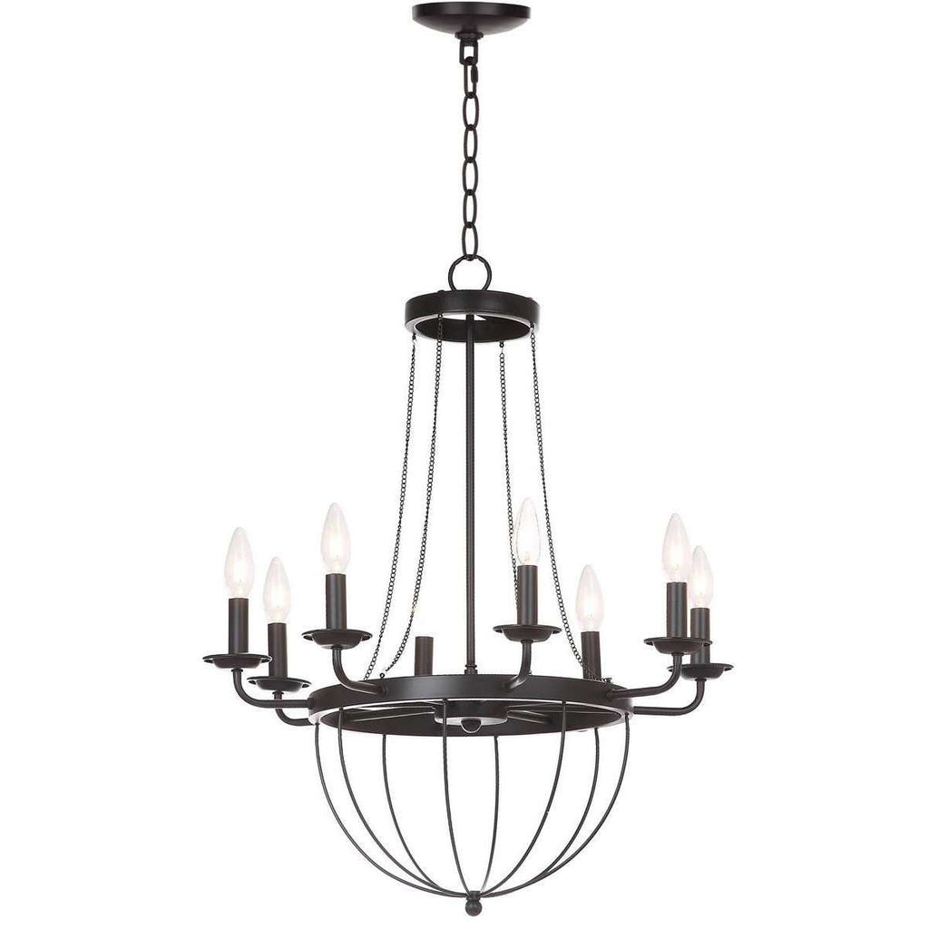 "Abrham Chandelier Adjustable 23"" Black Metal"