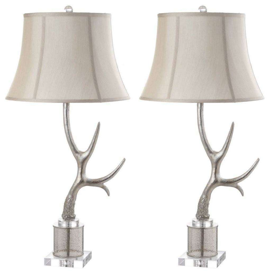 "Adele Antler Table Lamp 16"" Silver Cream Clear Polyster Resin Glass - Set of 2"