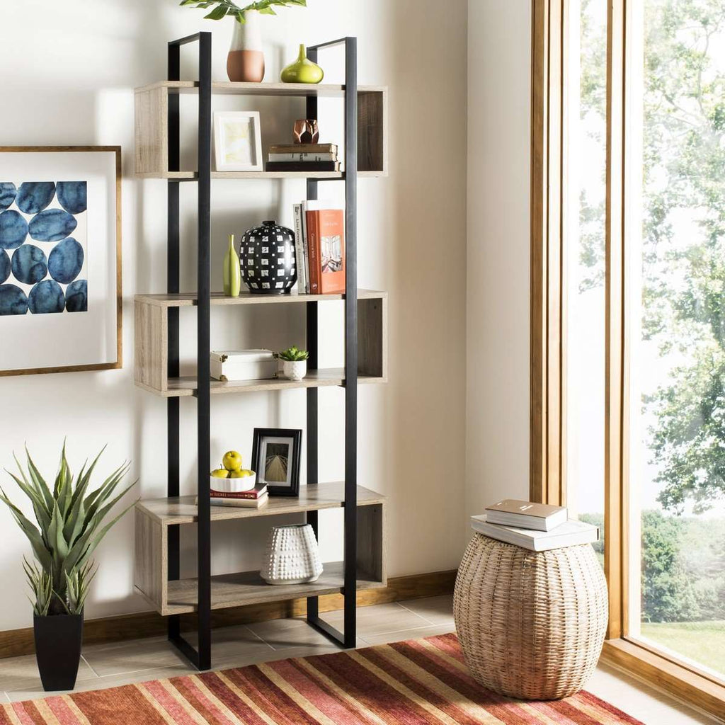 Adhara Etagere Retro Mid Century Oak Black Wood NC Coating Powder MDF Paper Foil Finish Iron