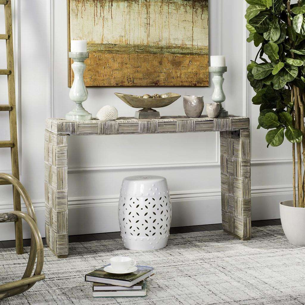 Adkin Console Rattan White Wash NC Coating Kubu