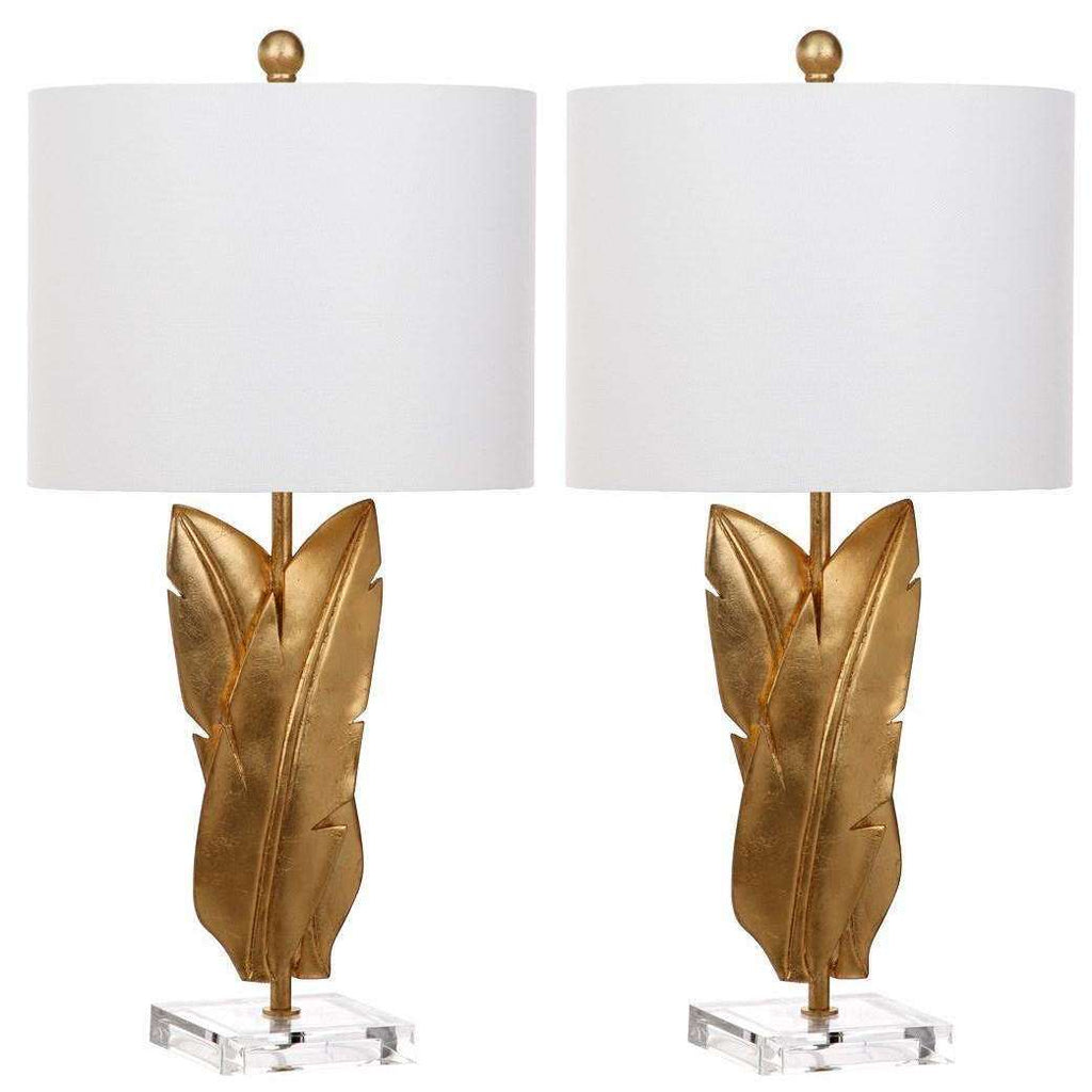 "Aerin Table Lamp Wings 25.5"" Gold Off White Cotton Resin - Set of 2"