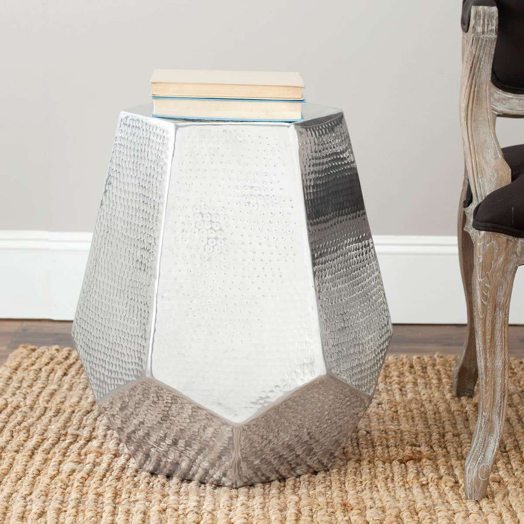 Aidan Stool Hammered Aluminum Silver Metal Powder Coating
