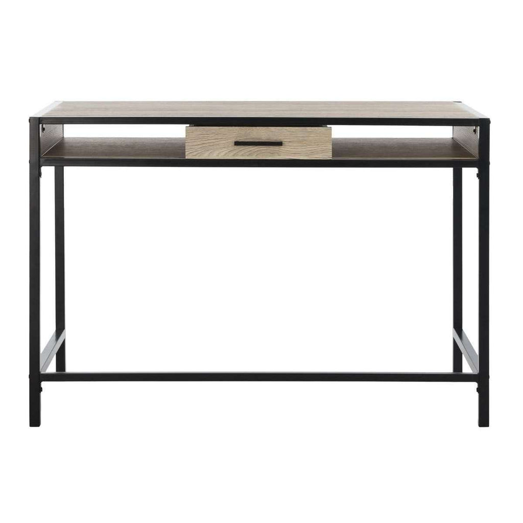 Alan Desk with Drawer 1 Shelf Oak Black Wood PVC MDF Metal Tube