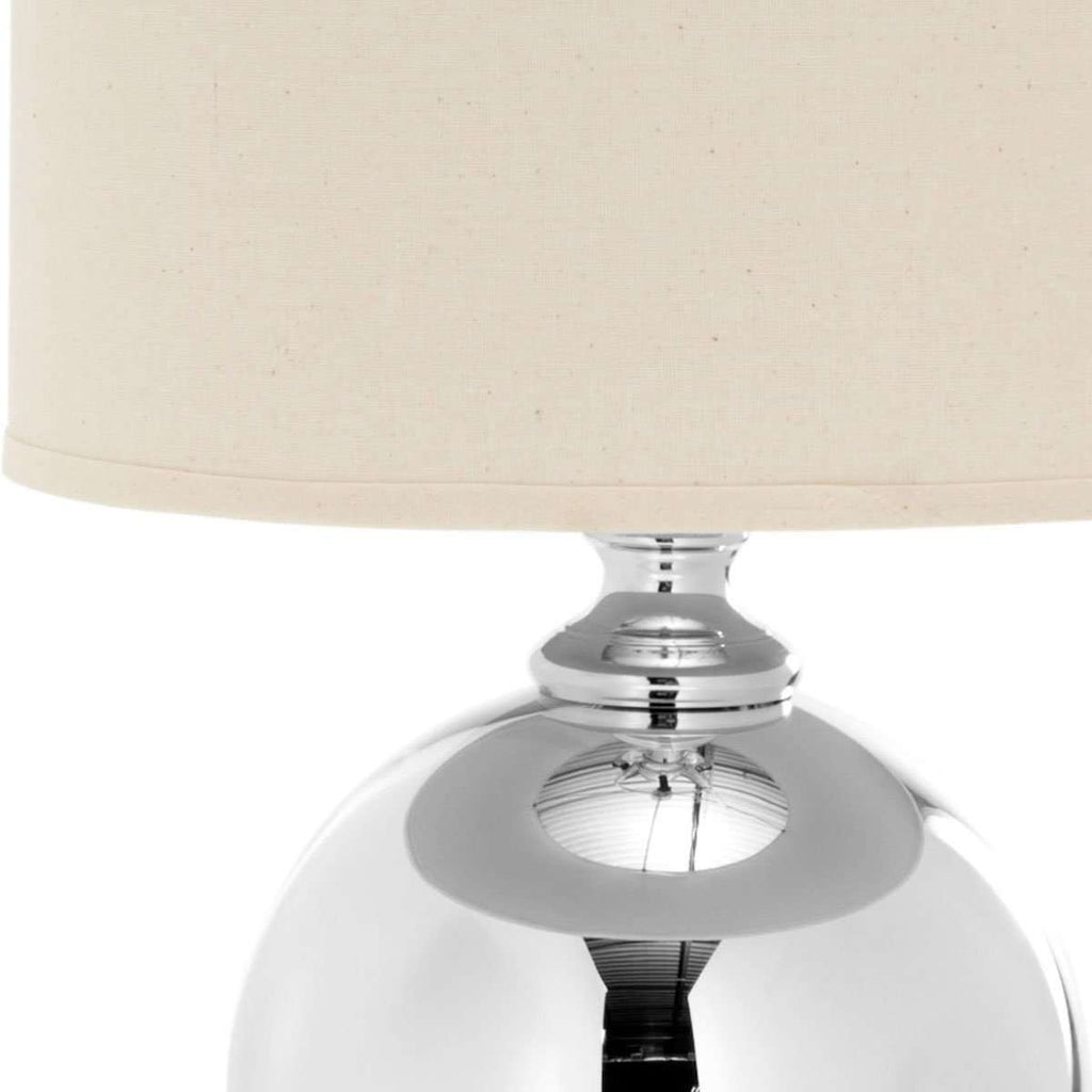 "Alcott Table Lamp Mercury Glass 28"" Silver Off White Chrome Cotton"