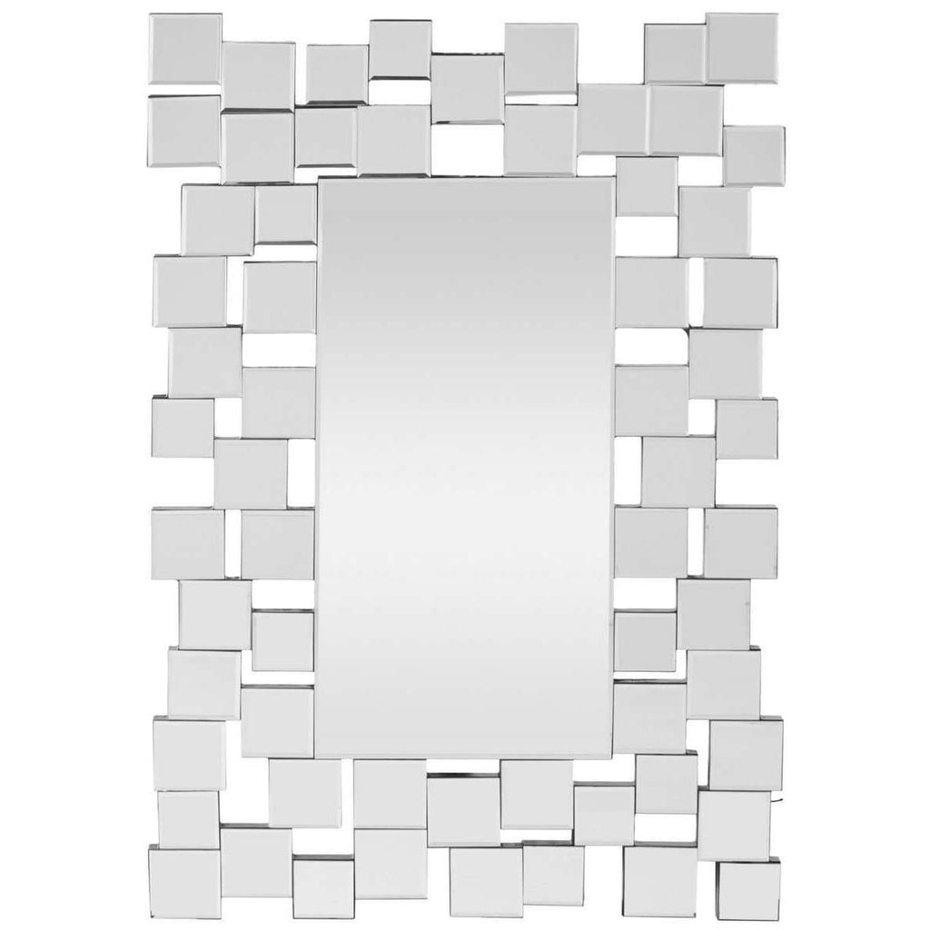 Aldon Mirror Geometric Squares 22.75 x 11.2 Silver and Black Wood MDF