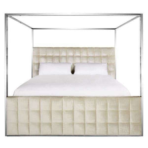 Alecxi Queen Bed Velvet Canopy Bella White Stainless Steel Fabric Rayon Polyester Couture