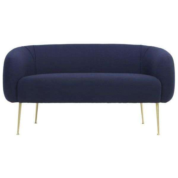 Alena Loveseat Wool Blend Natural Navy Gold Pine Wood Nylon Polyester Plywood Couture