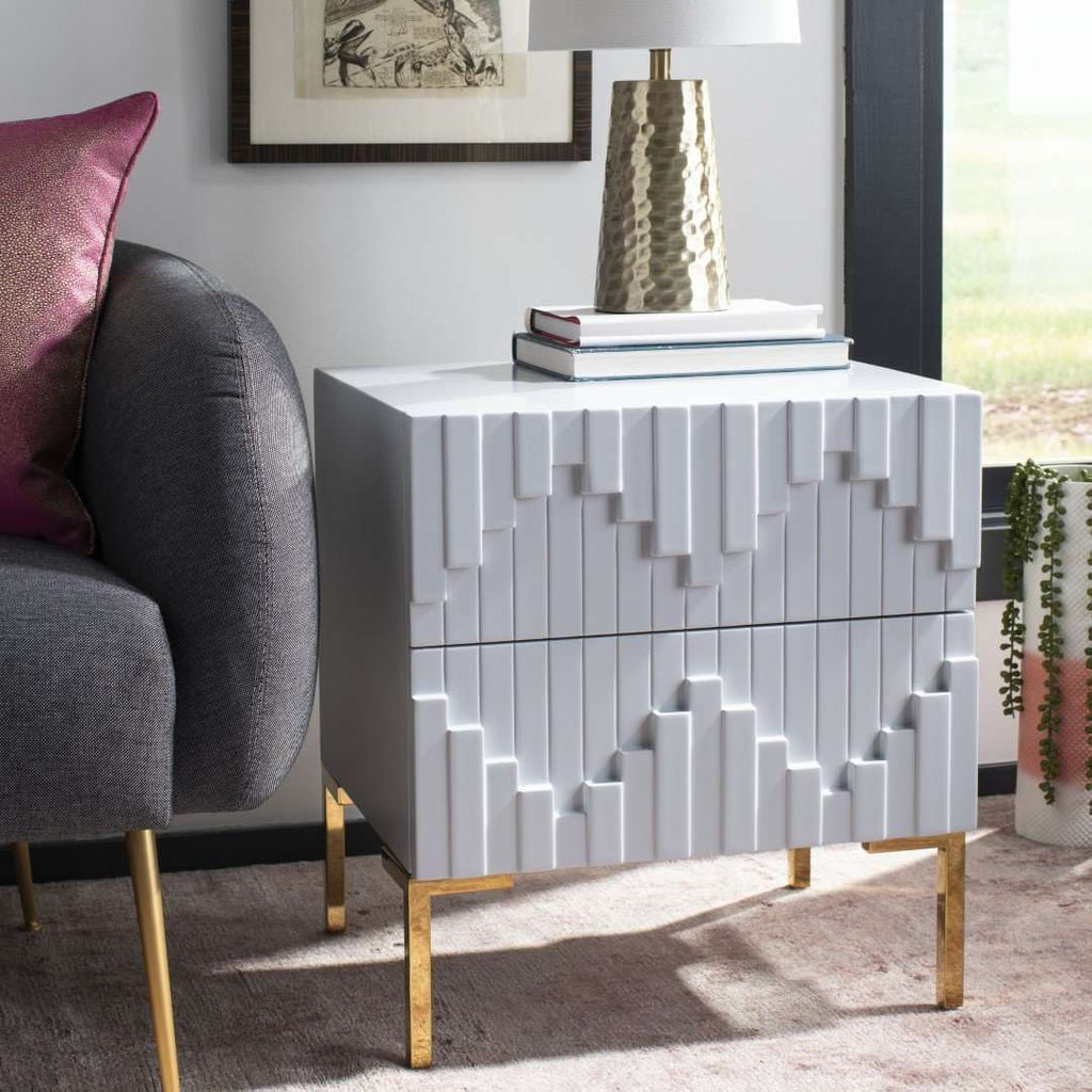 Alessa Zigzag Side Table Grey Mdf/Stainless Steel In Brass Finish