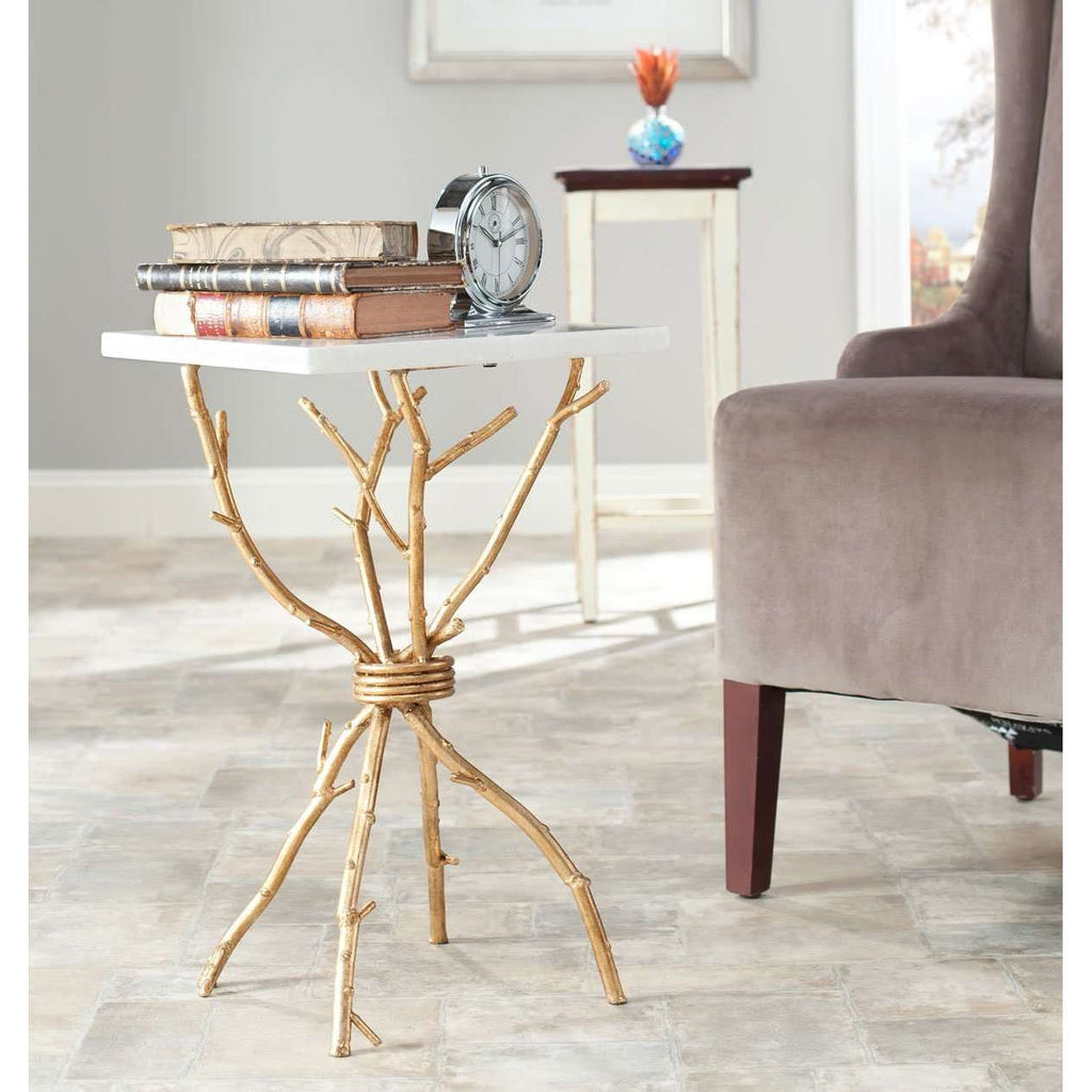 Alexa Accent Table Mabrle Top White Gold Metal Lacquer Coating Iron