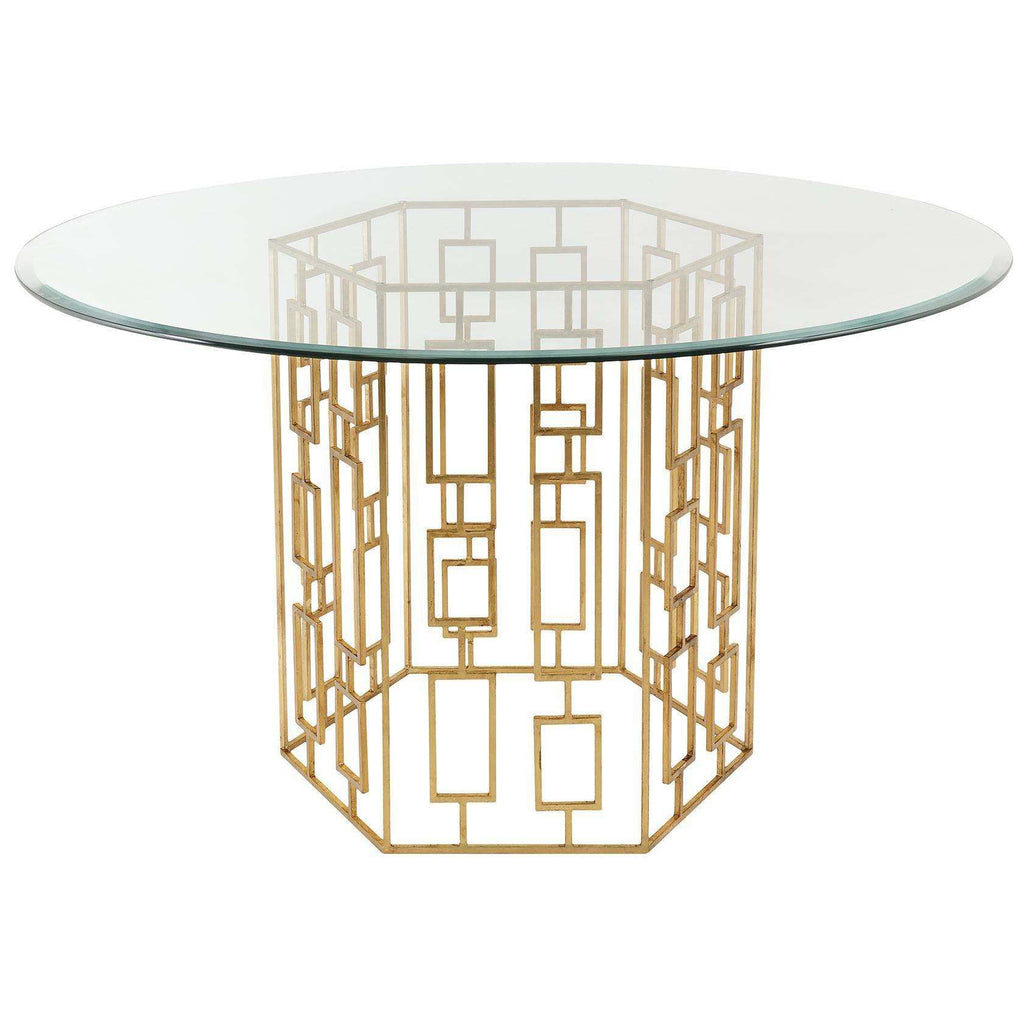 Alexandra Dining Table in Gold Leaf and Glass