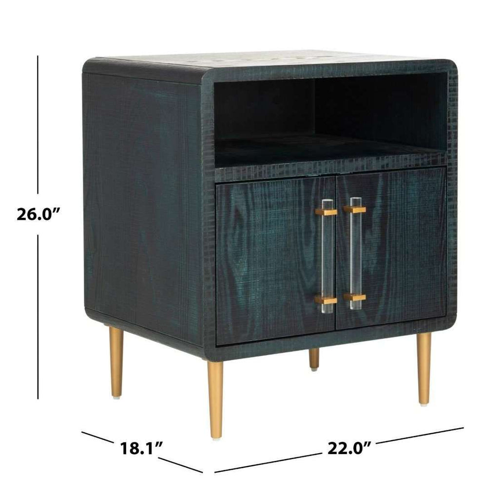 Alfie 2 Door Side Table in Indigo / Gold Couture
