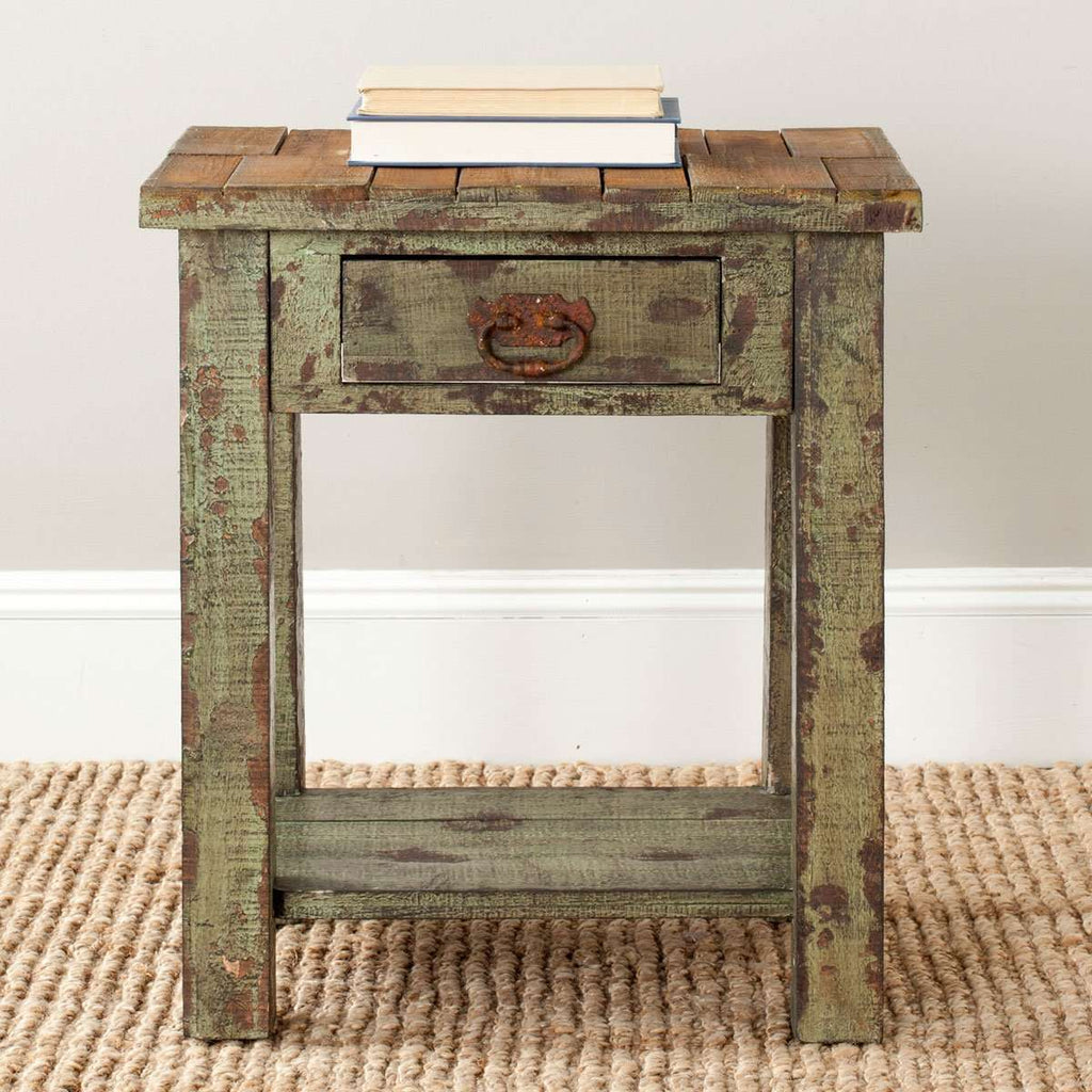 Alfred End Table Storage Drawer Antique Green Wood NC Lacquer Coating Fir Iron