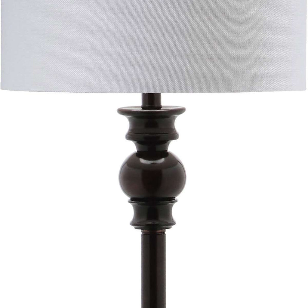 "Alphie Floor Lamp 61"" Ebony Off White Gold Cotton Metal"