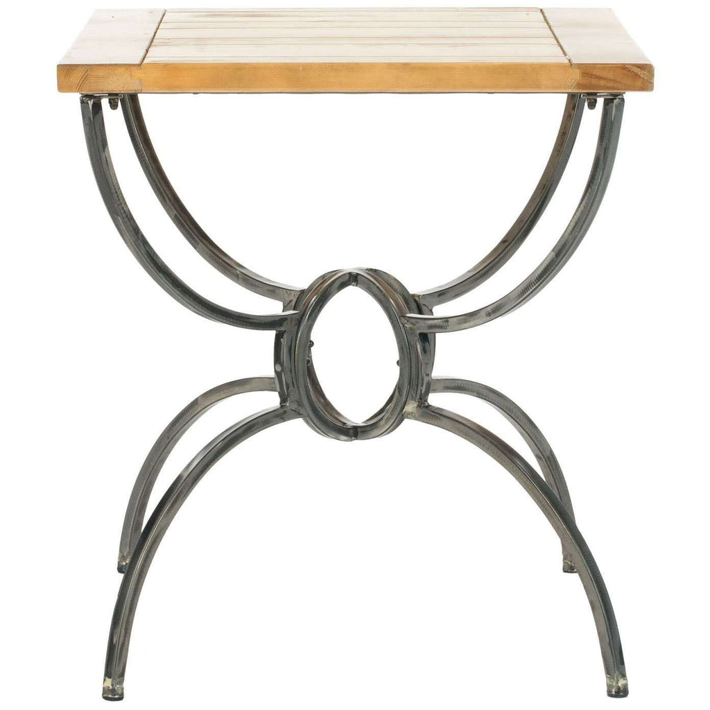 Alvin End Table Wood Top Natural Fir Iron