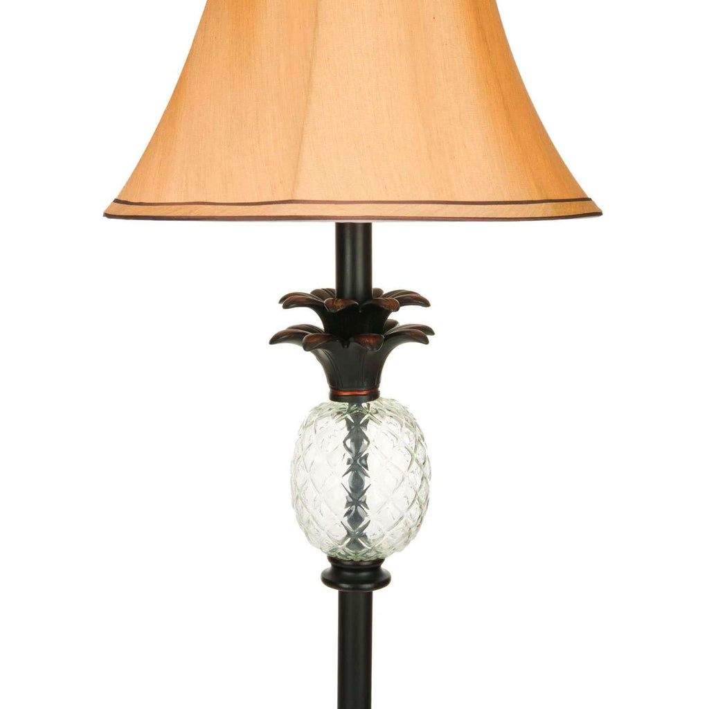 "Alyssa Lamp Pineapple 61"" Black Clear Beige Gold Polyester Glass Metal"