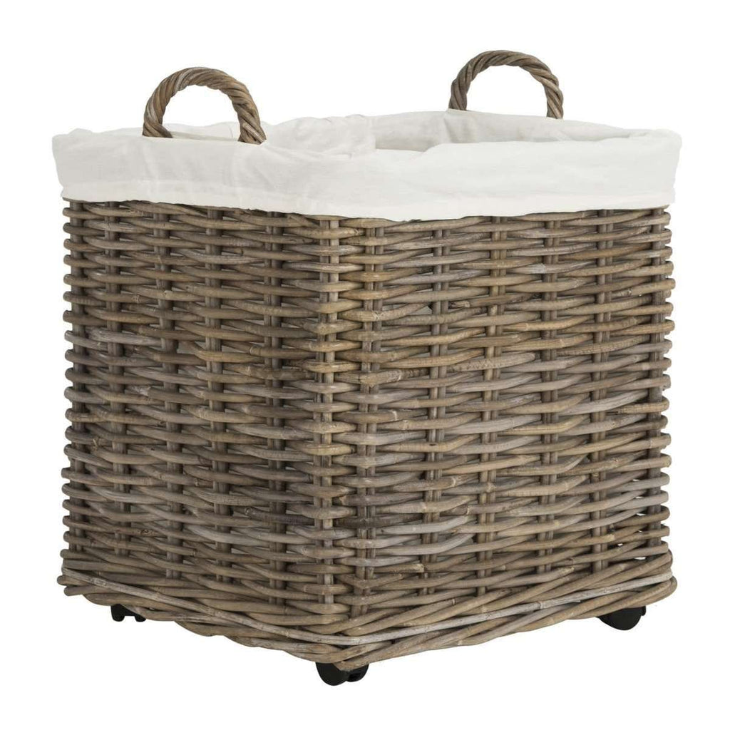 Amari Baskets Rattan Square with Wheels Natural NC Coating Mahogany - Set of 2