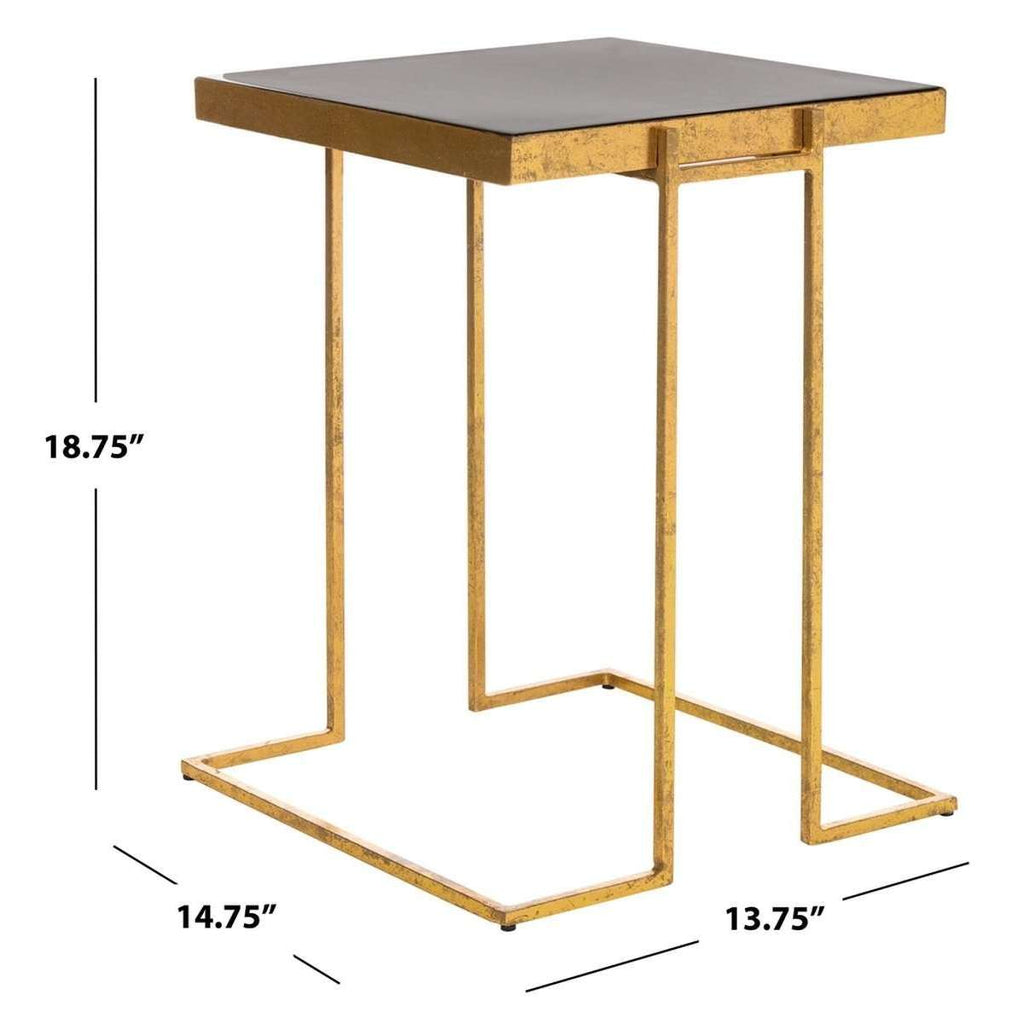 Amarylis Greek Key Side Table Black Gold Metal