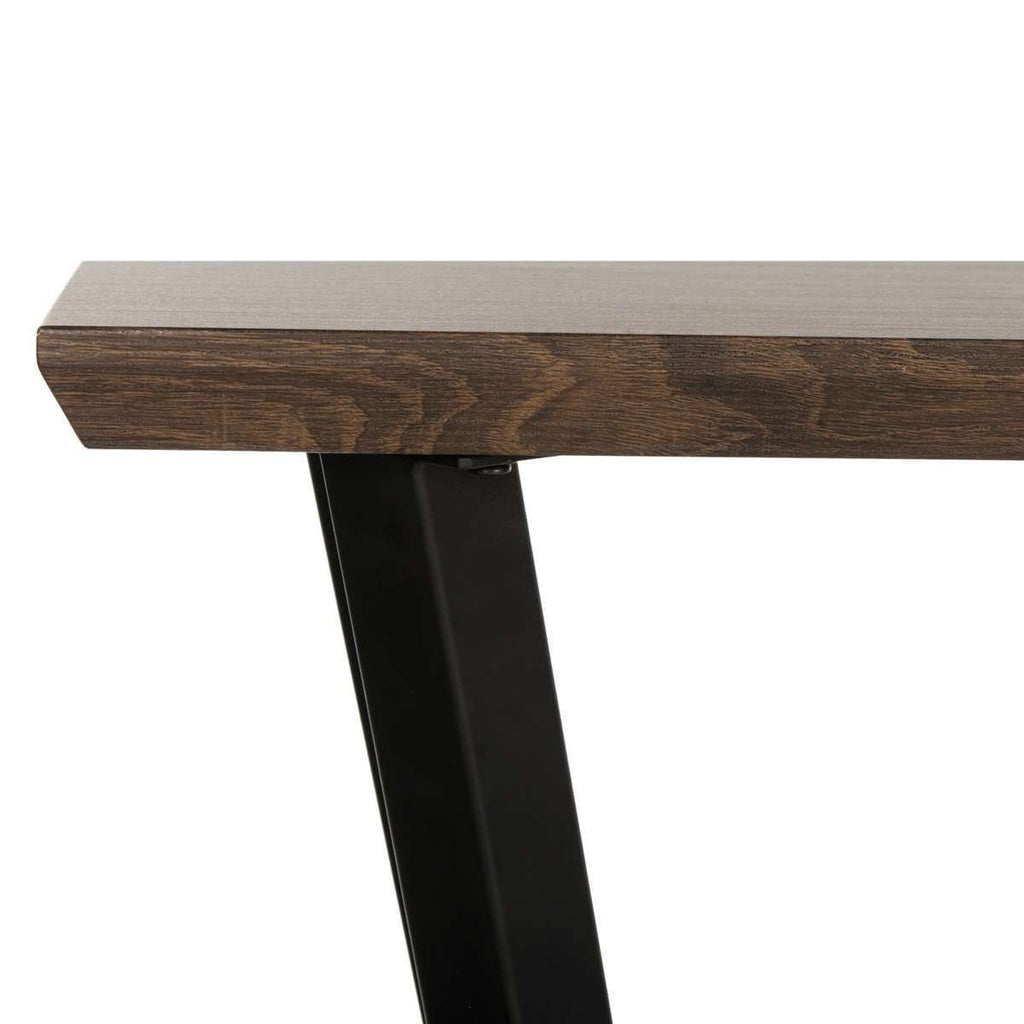 Andrew Console Table Rectangular Modern Midcentury Brown Oak Wood Powder Coating MDF Metal Tube