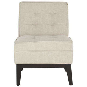 Angel Armless Club Chair Tufted Off White NC Coating Hardwood Plywood Birch Foam Linen Polyester