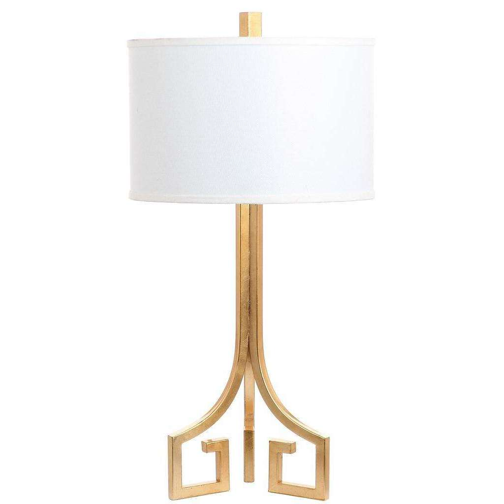 "Arabelle Table Lamp Hardback 27.5"" Gold Off White Cotton Metal - Set of 2"