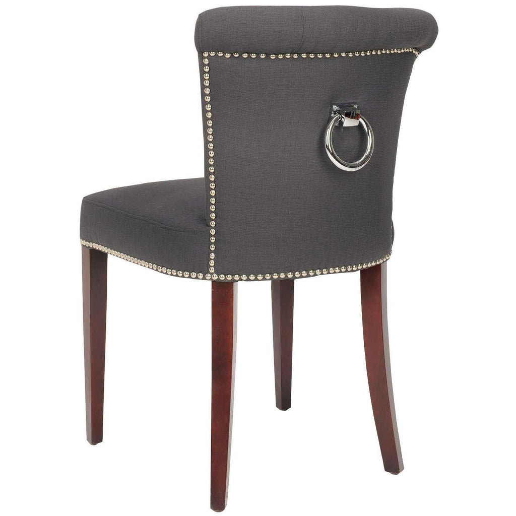 Arion Ring Chair 21''H Linen Nailheads Charcoal Cherry Mahogany Wood Birch Fiber Steel Poly - Set of 2