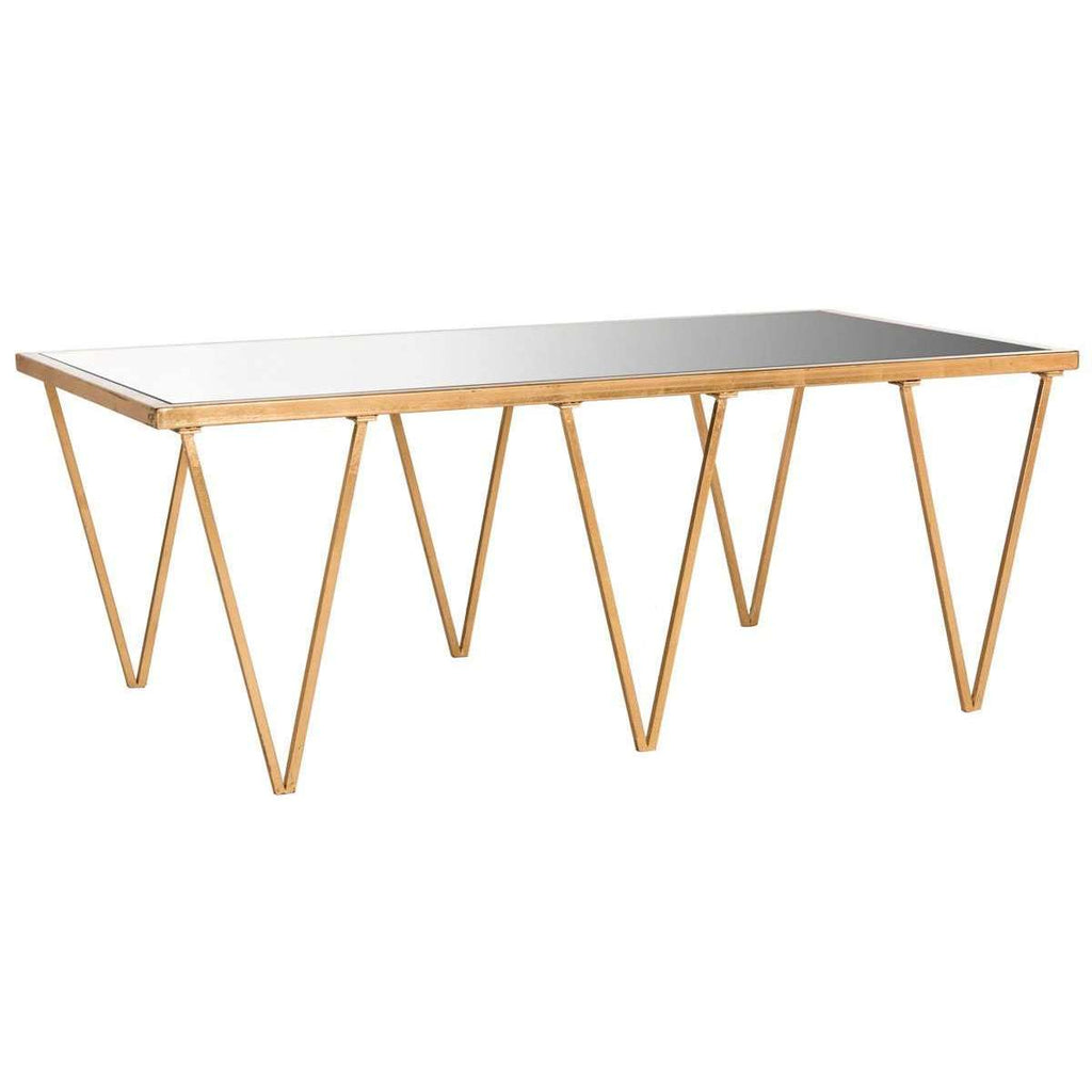 Arlene Coffee Table Antique Gold Metal Lacquer Coating Iron