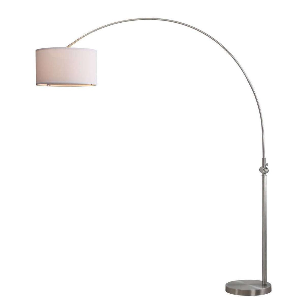 "Ascella Floor Lamp Arc 86"" Nickel Off White Cotton Metal"