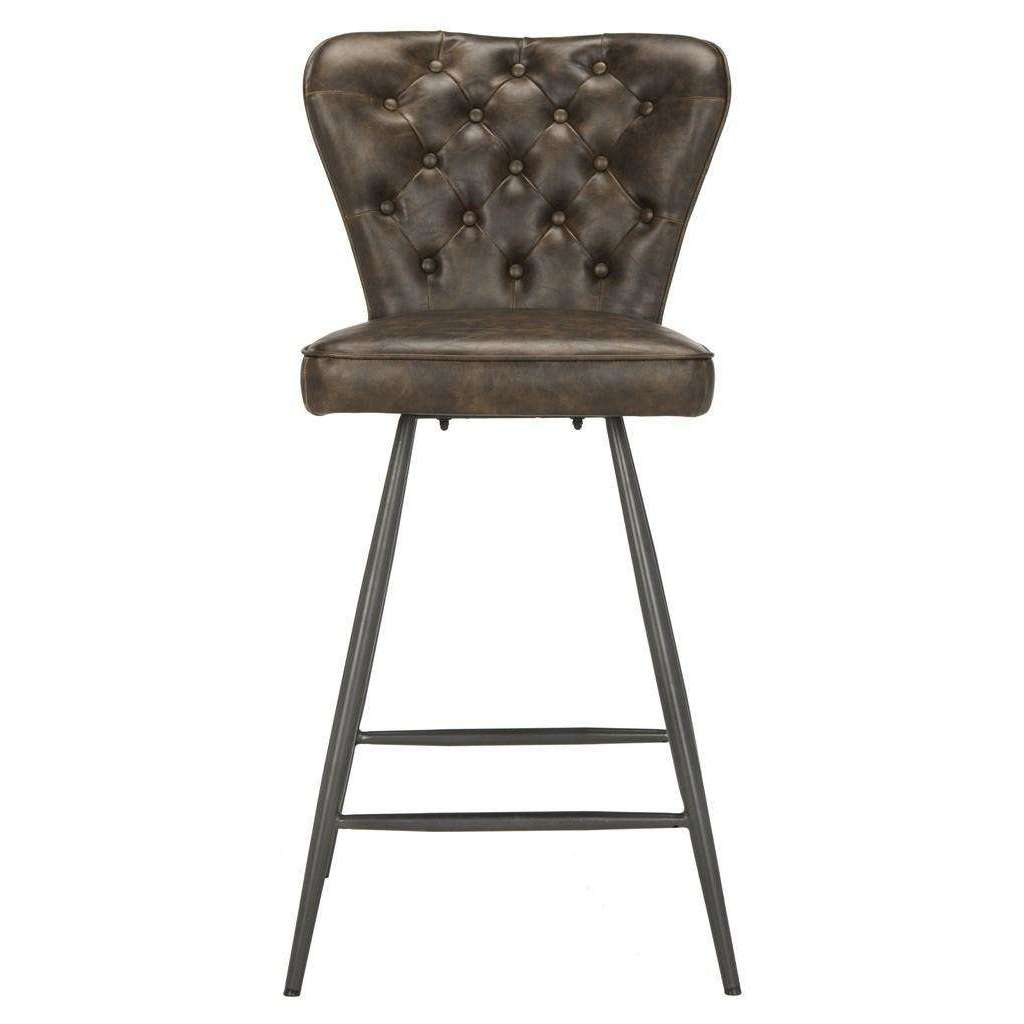 "Ashby 26""H Mid Century Modern Leather Tufted Swivel Counter Stool - Set of 2"