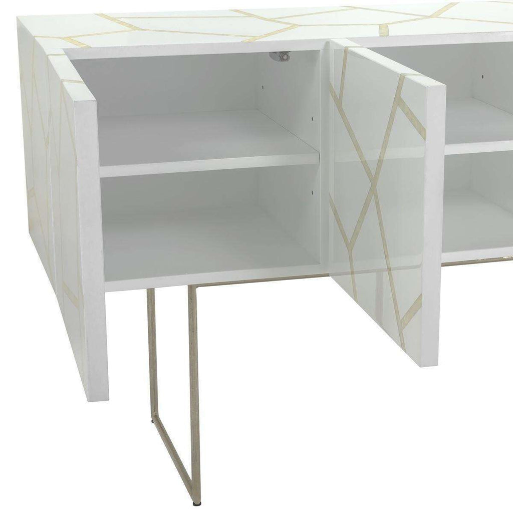 Ashley Buffet Mother of Pearl White Lacquer Shell Couture