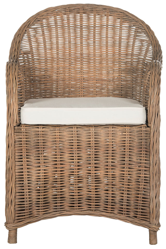 Safavieh Hemi Club Chair Striped Wicker Brown White Rattan NC Coating Lacak PU Foam Cotton SEA7002A 683726747208