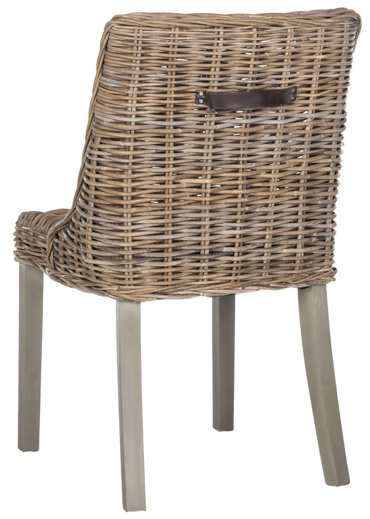 Safavieh - Set of 2 - Caprice Dining Chair 18''H Wicker Leather Handle Natural Rattan NC Coating Kubu SEA7005A-SET2 683726781356