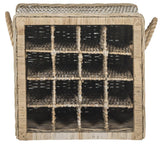 Safavieh Aziza Wine Rack 16 Bottle Wicker Natural Rattan NC Coating Kubu SEA7016A 683726776727