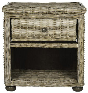 "Safavieh Lagos Nightstand Wicker with Drawer and 8""H Storage Natural Kubu Grey Rattan NC Coating SEA8000A 683726796015"