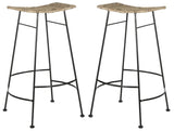 Safavieh - Set of 2 - Atara Bar Stool Rattan Seat Grey NC Coating Kubu SEA8005A-SET2 889048013582