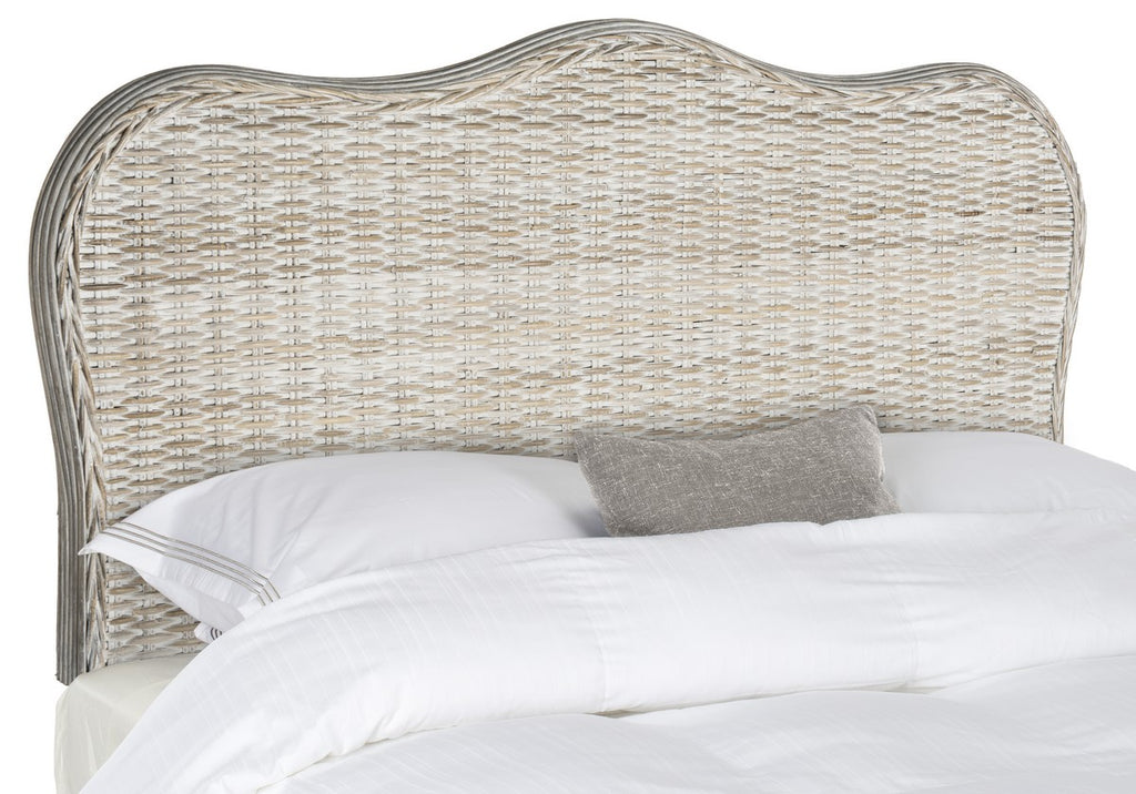 Safavieh Imelda Headboard King White Washed and Espresso Rattan Wood Kubu SEA8027B-K 889048023192
