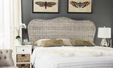Safavieh Imelda Headboard Queen White Washed and Espresso Rattan Wood Kubu SEA8027B-Q 683726806240