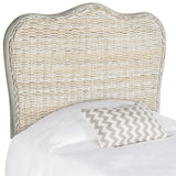 Safavieh Imelda Headboard Twin White Washed and Espresso Rattan Wood Kubu SEA8027B-T 889048023178