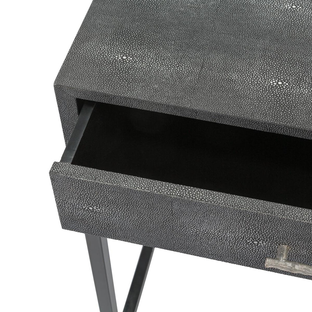 Safavieh Camden Nightstand Faux Shagreen Black Silver Resin Metal Couture SFV1501A 889048004238