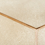 Safavieh Bryon End Table Faux Shagreen Walnut Beige MDF Resin Veneer Couture SFV1522A 889048463196
