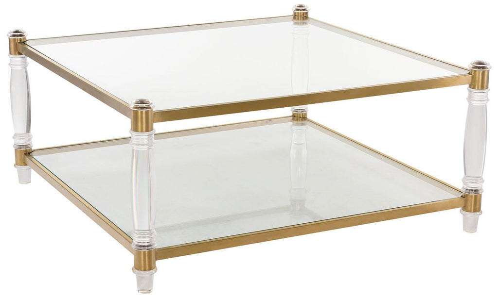 Safavieh Isabelle Coffee Table Acrylic Bronze Brass Glass Couture SFV2502A 889048077782