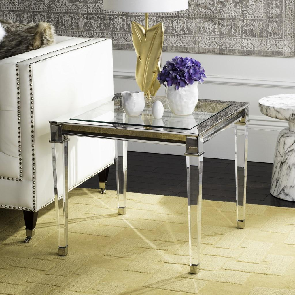 Safavieh Charleston End Table Acrylic Brass Glass Mirror Stainless Steel Couture SFV2513B 889048288966