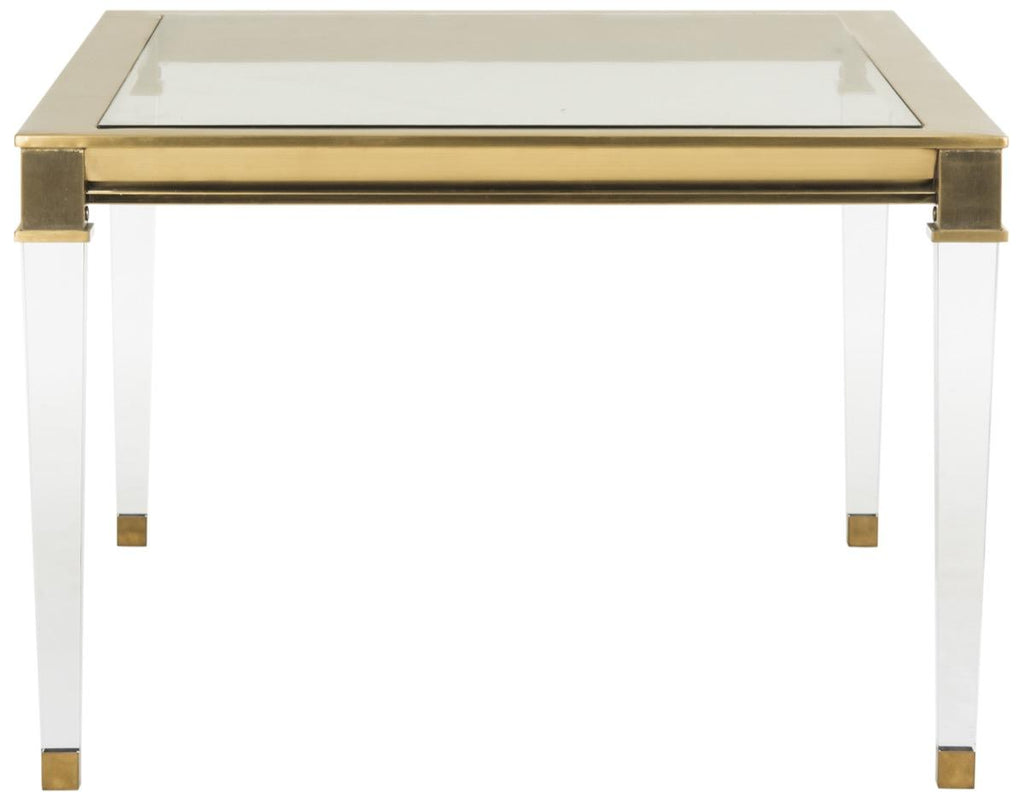 Safavieh Charleston Coffee Table Acrylic Stainless Steel Brass Glass Couture SFV2514A 889048200760